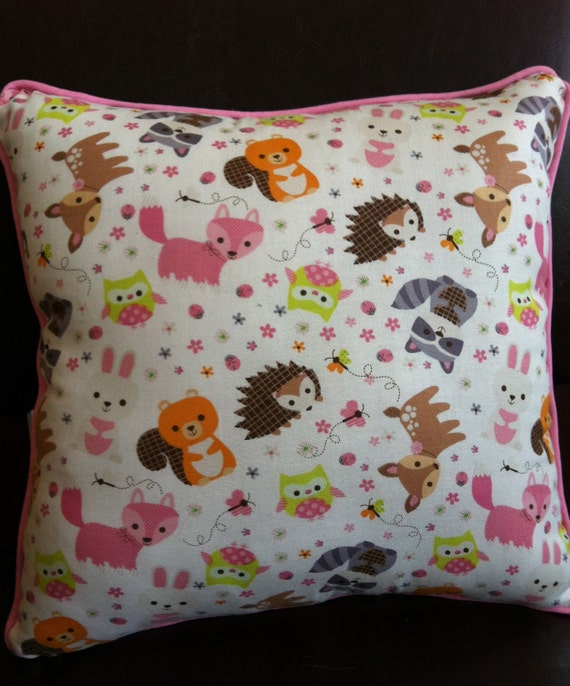 Woodland Animal Pillow in Pinks Greens Yellows Browns