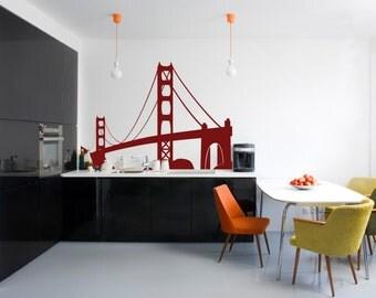 Travel Landmarks USA San Francisco Golden Gate Bridge -Wall Decal Custom Vinyl Art Stickers