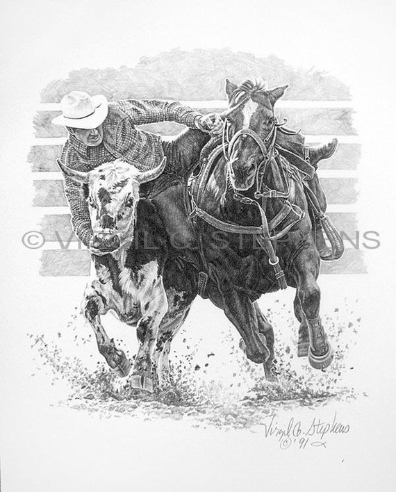 Steer Wrestling Drawing Of A Rodeo Cowboy Getting Ready To
