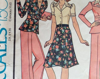 Vintage 1970s McCall's Jacket, Pants, Skirt Pattern