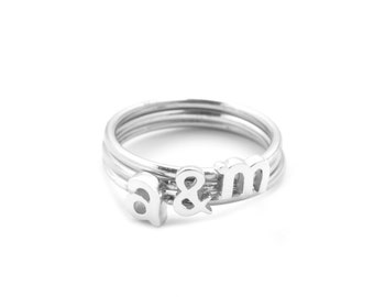Alphabet Rings, Stackable Initial Rings, Sterling Silver,Valentines Day Sterling Silver rings, Letter Rings