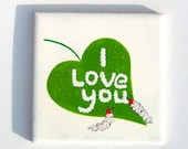 Caterpillars In Love Tile Coaster, Romantic, Quirky, Caterpillar Butterfly Gift, Green Garden Leaf Coaster - freespiritdesigns2