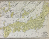 Vtg Japan & Taiwan Map, 1928