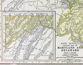 Vtg Maryland & Delaware Map, 1928