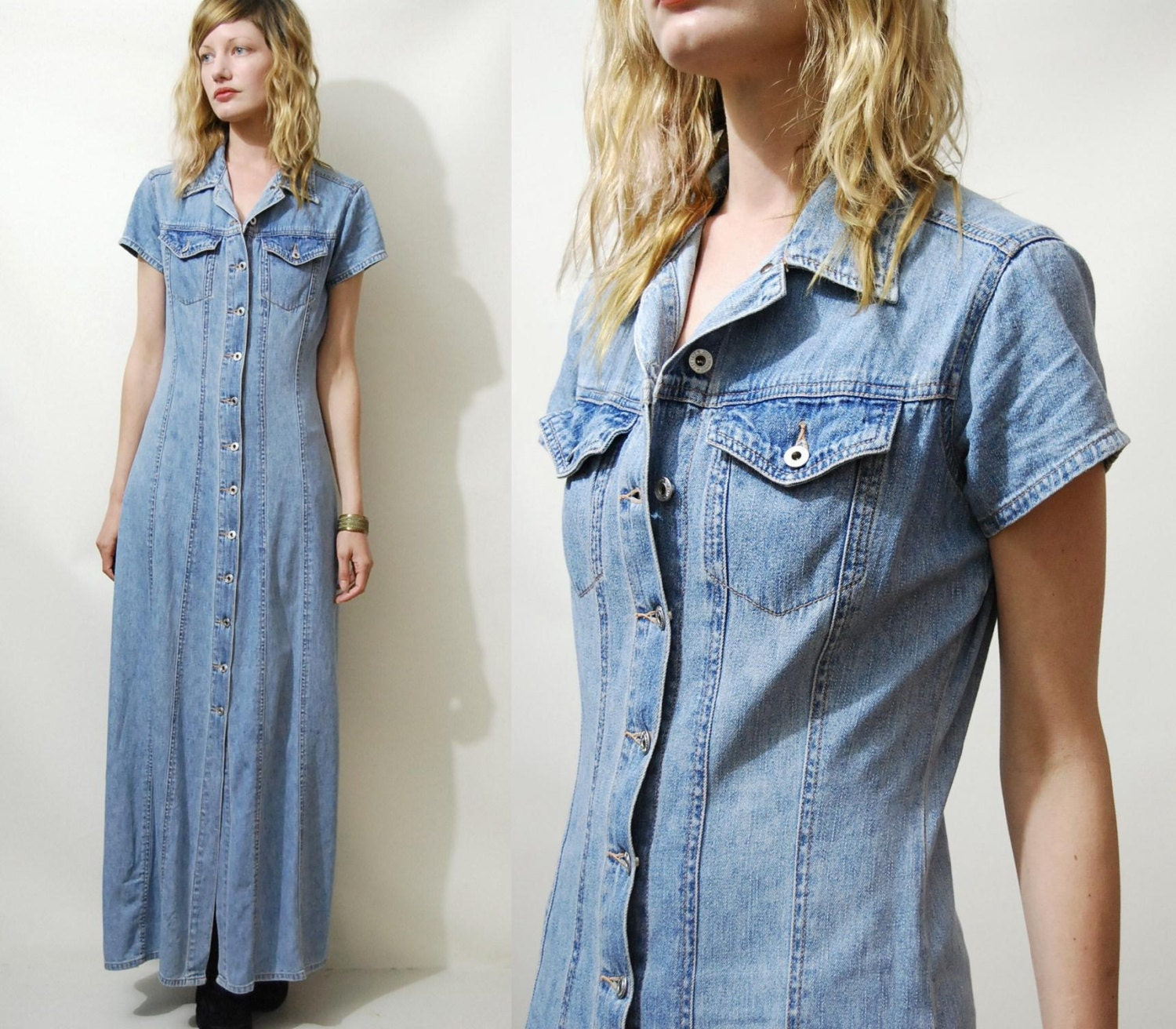 90s Vintage DENIM Dress Maxi Long BUTTON DOWN vtg by cruxandcrow