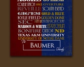 Texas A&M University  / University of Notre Dame House Divided Print or Canvas