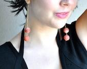 Red Apple Coral Dangle Earrings