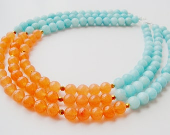 Triple Strand Stone Necklace, Blue and Apricot, Amazonite and Peach Jade Necklace, Color Block Necklace