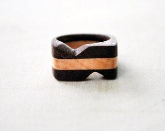 Wood Ring - Walnut and Maple Ring - Wooden Ring