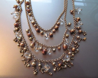chunky fresh water pearl and crystal necklace bronze