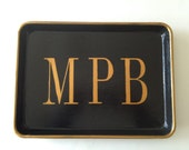 M gold monogram black tray