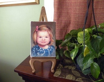 """portrait painting, oil on canvas, small 5 """" x 7"""" child portrait"""