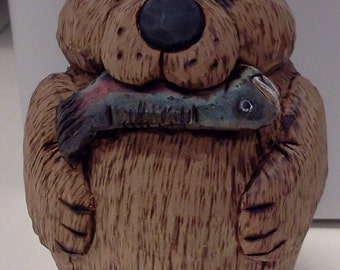 Bear with Fish Woodcarving