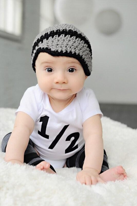 Baby Boy Crochet Hat Newsboy Beanie Gray And Black