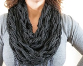 Chunky Knit infinity Scarf, Loose Knit Scarf