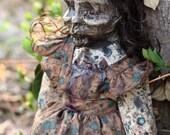 Flower Print Zombies Don't Wear Hats Art Doll - Elsie