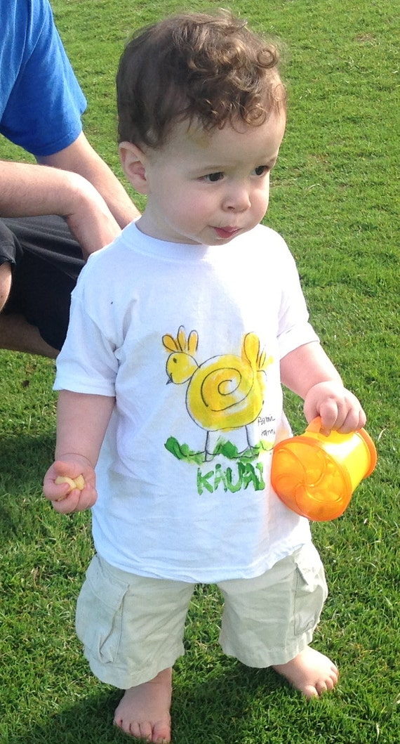 Chicken T-shirt -  Easter Shirt - Baby Gift Hawaii  - Unisex Kids Shirt - Hand Painted T-shirt - Kauai Chicken Shirt - yellow green shirt