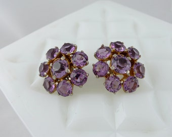 Vintage Amethyst color Rhinestone Earrings - Prong Set Purple Flower EM508