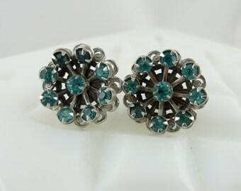 Vintage Sterling Silver Aquamarine Paste Rhinestone Flower Earrings - 1930's 925 UC109