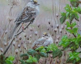 Watching Over - Small Original Bird Painting