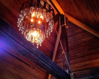 Bourbon Bottle Chandelier, Repurposed Bottle Chandelier