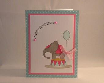 Circus Elephant Birthday Card