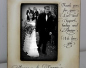 Wedding  Distressed Vintage Picture 4x6  5x7 Thank you Parent Photo Frame - Personalized Gift - Keepsake