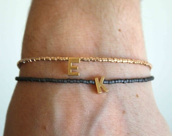 Tiny gold letter bracelet - Personalized Friendship Bracelet - Tiny beaded Initial-Letter Bracelet - Monogram Bracelet - Name bracelet