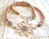 Crystal Flower and Pearl Necklace