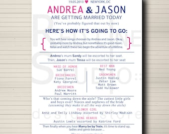 Wedding Program - custom and pintable - digital file