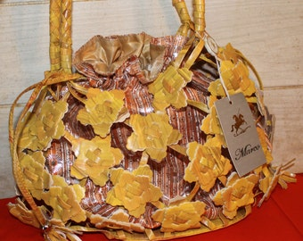 Unique Boho Style Marco Collection New York Handbag - Vintage - Yellow/Orange - Hippie - Bags and Purses - Accessories - Flowers