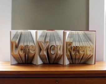 Anniversary Gift - Paper Anniversary - First Anniversary - Folded Book Art - Custom Phrase - Unique Proposal Ideas - Wedding Decor