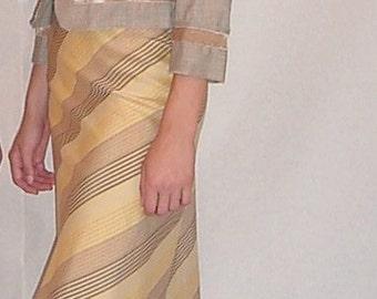 SALE, Asymmetric Fish-Tail Skirt in Silk & Cotton Yellow Multi Stripe. Bias-Cut Diagonal Striped Yellow Skirt.