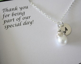 7 Personalized Bridesmaid Gifts, Bridesmaid Necklaces, Thank you Cards, Initial & Pearl Sterling Silver Necklaces
