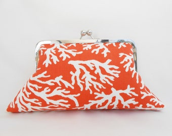 Orange Coral Big Kiss Clutch