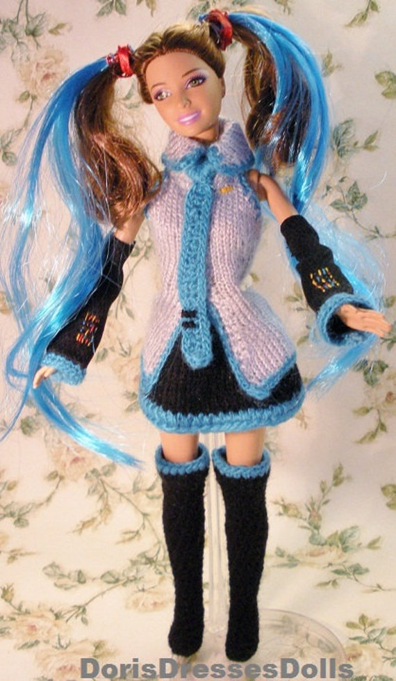 Ooak Hatsune Miku Anime Inspired Outfit For Fashion Dolls Sale