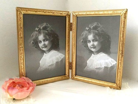 Vintage 5x7 Double Picture Frame Gold Tone By