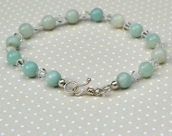 Sea Foam Amazonite Gemstone Bracelet, Swarovski Crystals on Pure Sterling Silver, Cool Aqua Blue Green, Free UK Delivery