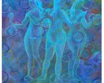 3 Muses Art Original Fine Art 8 x 10 Print, Greek Muses,Blue Modern Fresh Art Print, Home Decor-Greek Mythology, Goddesses