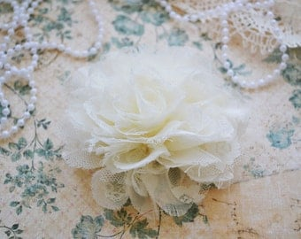 Ivory Large Shabby Shredded Lace Flower, Set of One, Fabric Flower, DIY Applique.