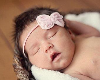 Pink Bow Headband, Baby Bow, Baby Headband, Baby Girl Headband, Infant Headband, Infant Bow, Newborn Headband