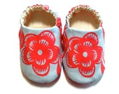 Baby Girl Shoes with Flowers, 0-6 mos. Baby Booties, Baby Gift