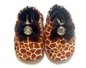 Giraffe Baby Girl Shoes with Gems, Baby Booties, Baby Gift