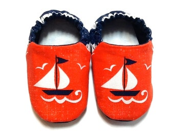 Nautical Baby Boy Shoes with Sailboats, 0-6 mos. Baby Booties, Soft Sole Shoes, Nautical Boy Crib Shoes, Sailor Baby Shoes, Baby Boy Gift