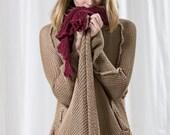 Long Beige knitted sweater,Natural Crochet women oversize cardigan