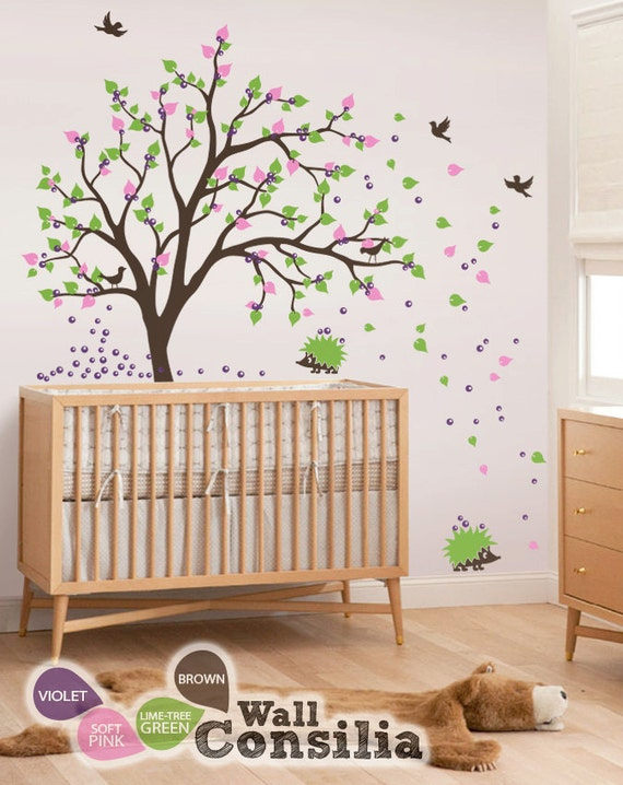 hnliche artikel wie baby kinderzimmer wandtattoo baum wand aufkleber wand wandbild. Black Bedroom Furniture Sets. Home Design Ideas