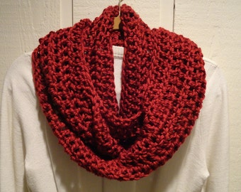 Crochet Infinity Scarf Cowl Brick Red Soft Warm Acrylic