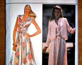 Ruffled Neckline Dress and Jacket Sewing Pattern Butterick 4414 Half Size 12.5  Bust 35