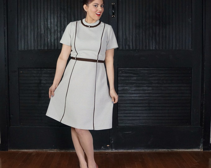 CLEARANCE SALE Brown & White Pinstripe Dress MEDIUM 1960s Vintage Belted Shift Short Sleeve Striped Cute Detail Mod Clothing Retro Dress