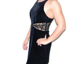 Velvet Cocktail Dress. 80s Little Black Dress with Lace Beads. Vintage Dress. Halter Dress. LBD. Mini Dress. Backless dress.